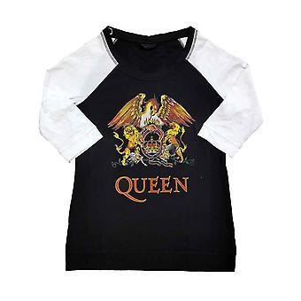 Queen T Shirt Classic Crest Logo new Official Black 3/4 Sleeve Womens Raglan