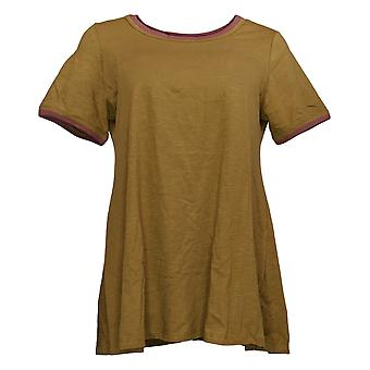 LOGO by Lori Goldstein Women's Top Cotton Slub Knit Green A350939