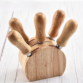 Corte de queso set acero cortador de queso inoxidable cortador de madera mango mini cuchillo mantequilla cuchillo espátula fork set con estante de almacenamiento