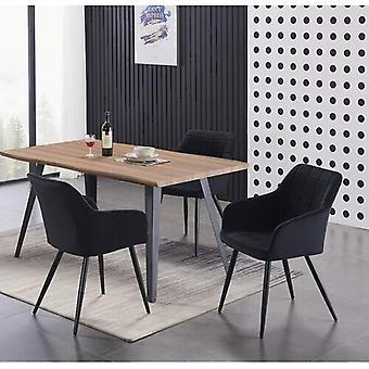 Lusso & Carmello Dining Set | Modern Dining Table | Velvet Dining Chair | Modern Set |  (oak & Black)