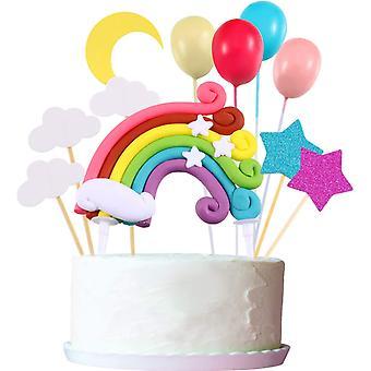 FengChun Cupcake Topper Set, Enthalten Regenbogen Wolke Mond Stern Ballon Form Cupcake Topper Picks fr