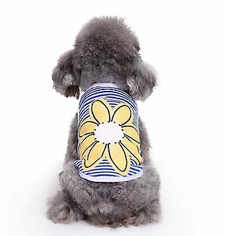 Dog cat clothes striped cotton spring summer sunflowers blue vest