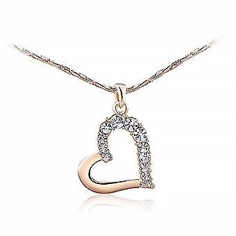 Necklace for Women Heart Chain Necklace Heart Pendant Plated Heart Zirconi Crystal, metal base, color: ros gold, cod. 712-4883