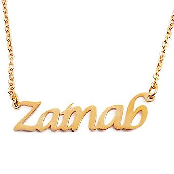 """L Zainab - 18-carat Gold Plated Necklace, with Customizable Name, 16""""- 19 Adjustable Chain"""