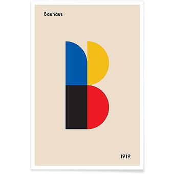 JUNIQE Print - B voor Bauhaus - Retro & Vintage Poster in Blauw en Cream White
