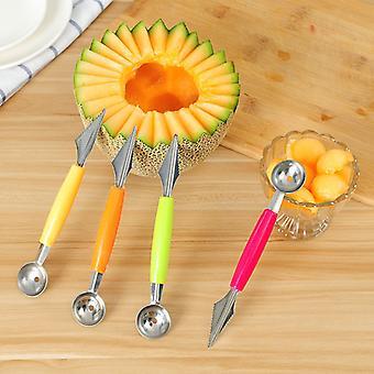 Kaksinkertainen hedelmä kaiverrus veitsi vesimeloni baller jäätelö kaivaa pallo kauha pallo baller diy valikoima kylmiä ruokia työkalu keittiö accessorie