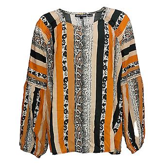 Tolani Collection Women's Top Blouson-Sleeve Printed Beige A389946