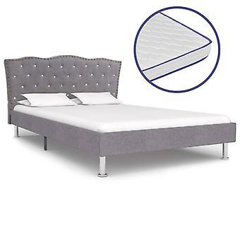 vidaXL bed with memory foam mattress light grey fabric 140×200 cm