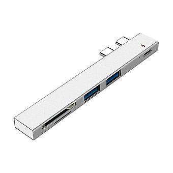 USB C HUB Dual Type C -sovitintelakka USB PD -laturilla SD/TF-paikka PC:lle Macbook Pro 13 15 Airille