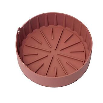 Air Fryer Silicone Pot Multifunctional Reusable Liner Heat Resistant Oven Accessories(brown)