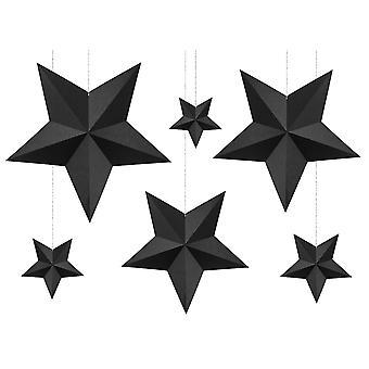 6 papper 3D stjärnor jul heminredning set   svart