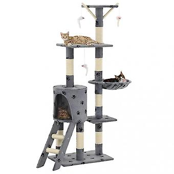 Chunhelife Cat Tree With Sisal Scratching Posts 138 Cm Grey Paw Prints