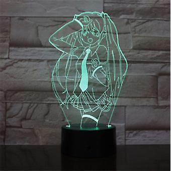 Hatsune Miku 3d Led Night Light Soveværelse Bordlampe FarveSkift