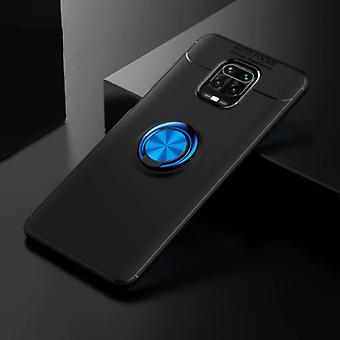 Keysion Xiaomi Redmi Note 9 Case with Metal Ring - Auto Focus Shockproof Case Cover Cas TPU Black-Blue + Kickstand