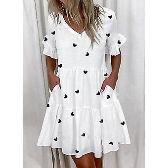 Moda damska krótka sukienka z luźnym nadrukiem marszczenia z kieszeniami s-5xl