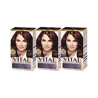 Schwarzkopf elintärkeät värit 5-69 Mahogany pysyvä hiusten väri Dye x 3 Pack