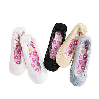 5pairs Lace Boat Socks Non-slip Shallow Mouth Low-cut Invisible Socks Pure Color Cotton