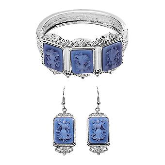 TJC Designer, Hoop Jewellery Set for Womens Blue Cameo in Stainless Steel