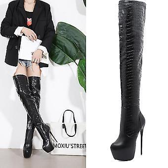 Kvinder Thin Høj hæl Støvler, pu Læder Platform Støvletter Winter (39) (Sort)