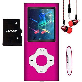 נגן MP3 / נגן MP4, נגן מוסיקה MP3 עם 64gb / 32gb / 16gb זיכרון כרטיס SD סלים קלאסי Lcd דיגיטלי 1.82'' מסך מיני יציאת USB עם רדיו Fm, Voic