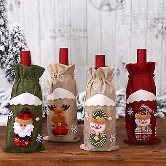 Julepynt For Hjem Julenissen Vin FlaskeDeksel Snømann Strømpe Gaveholdere Xmas Navidad Dekor Godt nyttår
