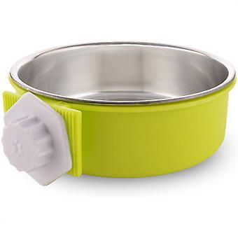 Rostfritt stål avtagbar hundskål, hängande pet bowl bur, liten vattenskål, husdjurstillbehör, grön X