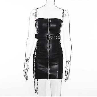 Falda envuelta en pecho Falda Cintura delgada Cinturón de una línea Collar Pu Cremallera de cuero
