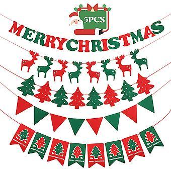 Joyeux Noël Bannière Pendant Drapeau en Tissu Pour Décoration Extérieure Intérieure 5 Pack