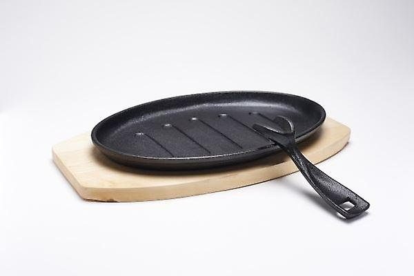 CAST IRON SIZZLER PLATTER SKILLET WITH WOODEN TRIVET SERVING OVAL 27x17cm
