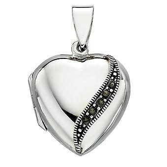 925 Silver And Marcasite Necklace Heart