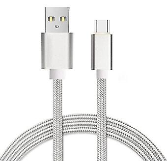 (Silver) [ 1 METER ] USB Micro-USB Cable Nylon Braided Data Cable For Samsung Galaxy Xcover 4