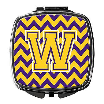 Carolines Treasures  CJ1041-WSCM Letter W Chevron Purple and Gold Compact Mirror