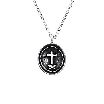 Cross Coin - 925 Sterling Silver Plain Necklaces - W23574X