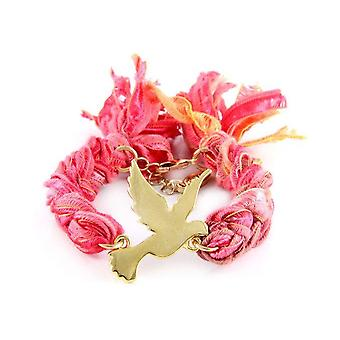 Ettika - Yellow Gold Dove Bracelet and Cotton Red Red Ribbons Coral 2514