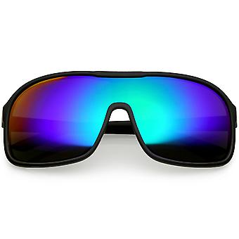 Oversize Flat Top Sporty Shield Sunglasses Color Mirrored Lens 63mm
