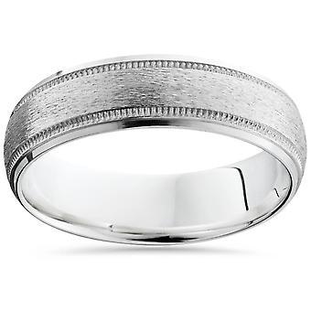 Børstet Milgrain & polert skrå bryllup Band 14K hvitt gull 6mm