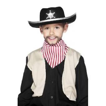 Der Sheriff Hut schwarz Filz mit weißem Trim und Abzeichen (1)