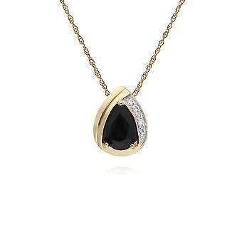 Gemondo 9ct Yellow Gold Sapphire & Diamond Pear klassiska hängande på 45cm kedja