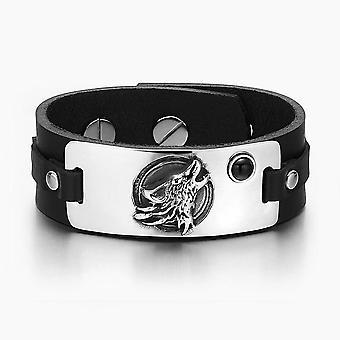 Zwarte Onyx verstelbare zwart lederen armband Huilende Wolf wilde maan moed Amulet Tag gesimuleerd