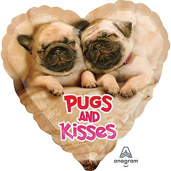 Anagram 18in Avanti Pugs And Kisses Foil Balloon
