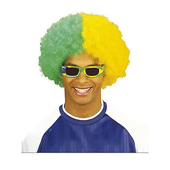 Dois Tone Curly Wig-verde/amarelo