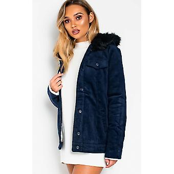 IKRUSH Womens Mayne Faux Fur Hooded Cord Jacket
