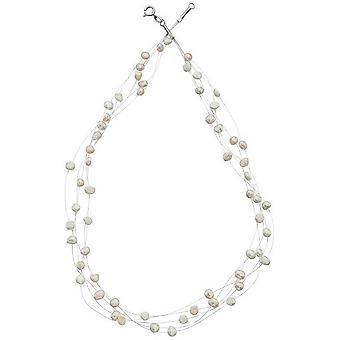 Начало пресноводные жемчужные Multi Strand ожерелье - белый/серебристый