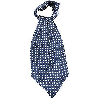 Knightsbridge Neckwear Polka Dot silke Cravat - blå/hvit