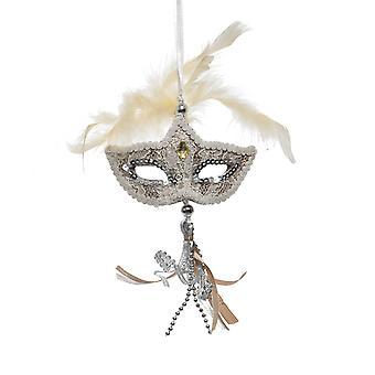 TRIXES förpackning med 2 venetianska maskerad Mask hängande julgran dekoration färg guld