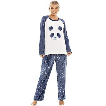 Camille blå super Velour Fleece Panda tegnsett Pyjama
