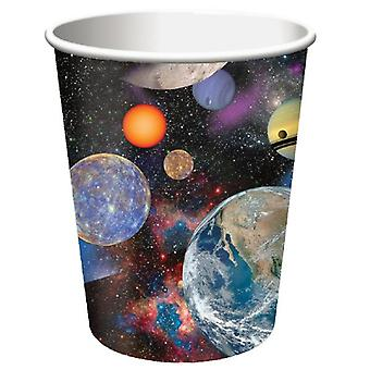 Space outer space party Cup cardboard 266 ml 8pcs astronaut party birthday decoration
