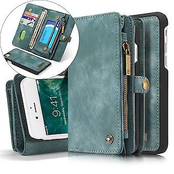 CASEME iPhone 8/7/SE Retro Split Leder Brieftasche Fall - blau
