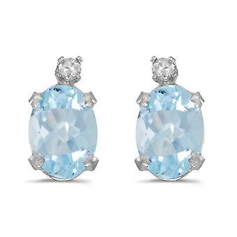 LXR 14k White Gold Oval Aquamarine and Diamond Earrings 1.12ct
