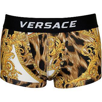 Versace barroco Luxe Low-Rise Boxer Trunk, preto/ouro